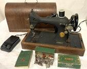 Mid-Century Centennial SINGER 128-23 Sewing Machine Bentwood Case Accessories