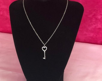 Stainless steel key pendant,gold key necklace,key charm 32.7x10x1.2mm  1pcs