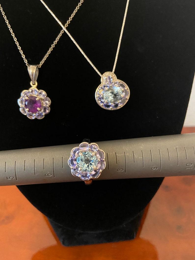 Blue topaz and tanzanite pendant necklace