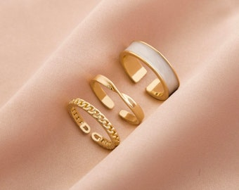 Set of 3 adjustable rings   Colorful Rings   Gothic Style Three Piece Opening Rings   chain rings   Twisted rings   Gold rings   Cool rings