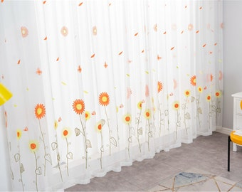 Sunflower Curtain Pastoral Gauze Embroidered Flower Tulle Translucent Curtain Yarn