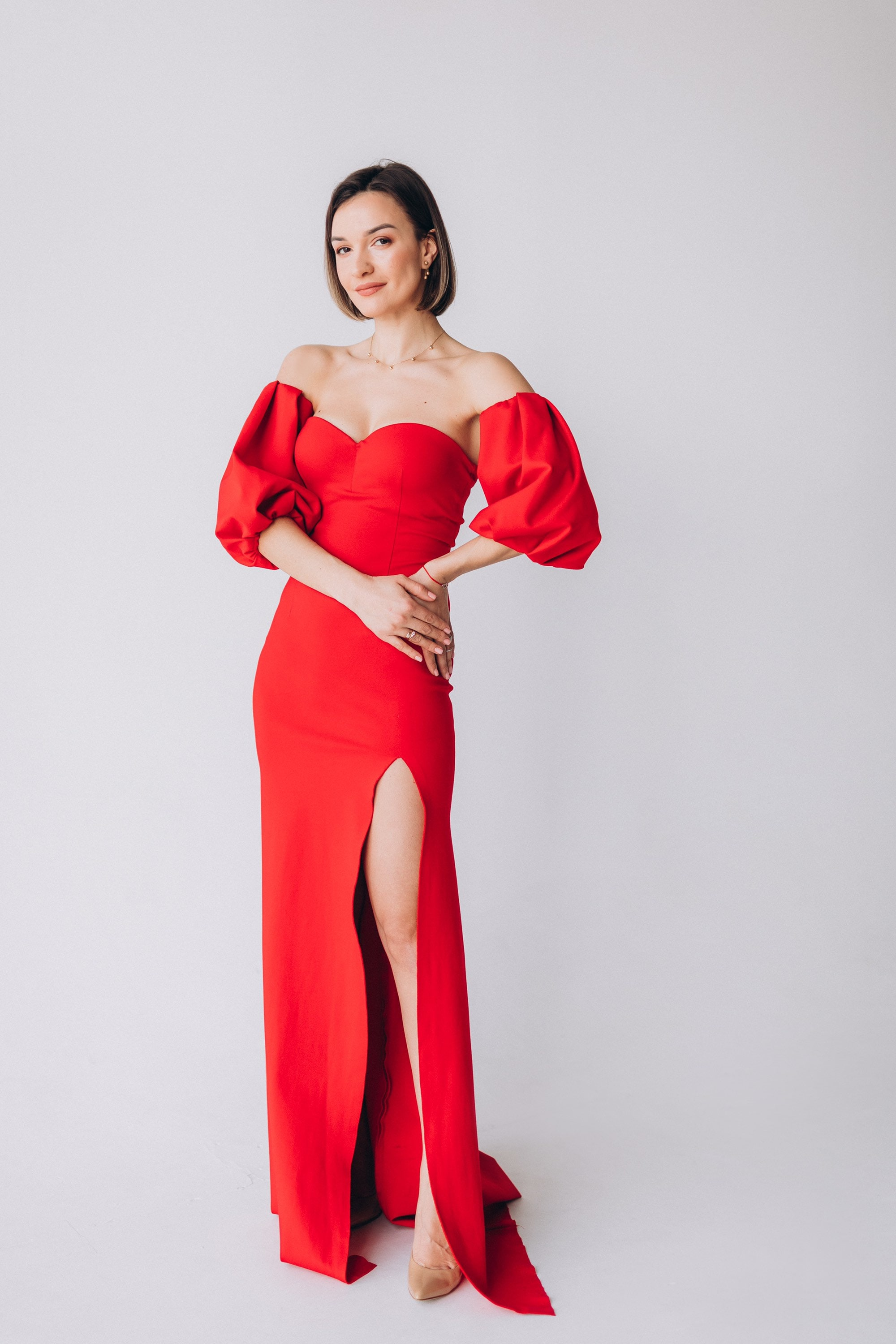 Long Fitted Dress with Sparkly Sequined Top and Side Slit