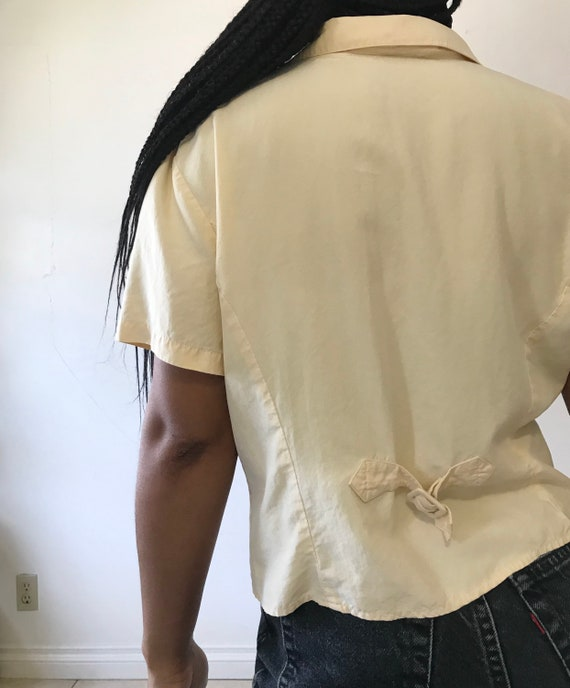 VINTAGE Butter Yellow Silk Button Up - image 3