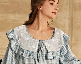 12 NZAus* Lingerie Vintage Winter Flannelette Tartan /& Lace Nightie Size 8-10 US Vintage Night Dress 40 Bust Womens Vintage