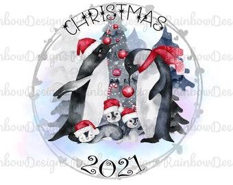 Christmas 2021 Penguin Sublimation Design, Christmas PNG, Penguin PNG & Mug Template