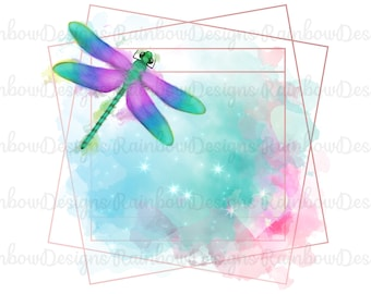 Watercolour Dragonfly Frame 2 PNGs Sublimation Design