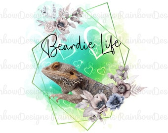 Bearded Dragon Sublimation Design PNG & Mug Templates, Beardie Gift, Reptile PNG, Gift For Bearded Dragon Lovers