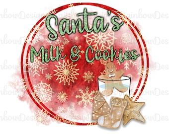 Santa's Christmas Cookies PNG, Sublimation Design, Christmas Download, Mug Template