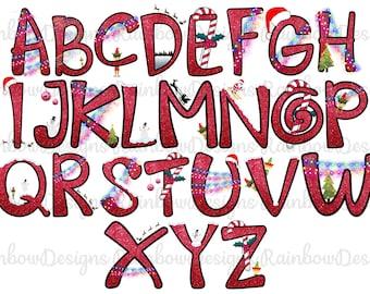 Christmas Alphabet, Alphabet PNG, Christmas Sublimation