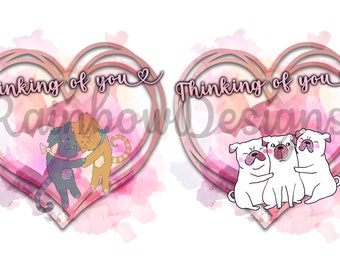 Thinking Of You, Sympathy Design, Pug Hug, Cat Hug, Sublimation PNG Download Two Files