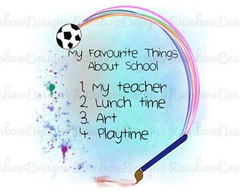 My Favourite Things About School Sublimation PNG, Teacher Design, School Gift, Mug Template