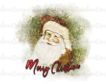 Hand Drawn Santa PNG, Father Christmas Sublimation, Merry Christmas Download