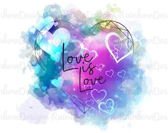 Love Is Love Sublimation Design, Pride Design, Watercolour Mug Template