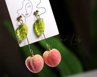 Dangle Drop Peach Earrings Vegan Leaf Earrings Fuzzy Earrings Cherry Leaf Earrings Fuzzy Fruit Earrings Huggie Earrings Peach Earrings