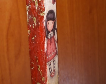 Decoupage easter candle santoro gorjuss  / Lampada / Lambatha / golden flakes