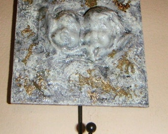 Shabby chic angels key hanger  with black metal hook/ marble effect key holder/ vintage