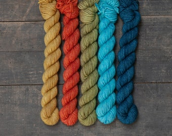 Ministränge Set of 5 hand-dyed 6x sock wool 125g