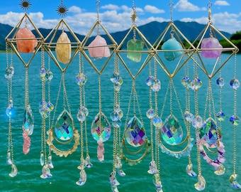 Sun catcher/ Crystal suncatcher/ hanging crystal/ Aurora gemstone suncatcher/ crystal prism/ Rainbow maker/ Boho decor/ Holiday Gift 4 women