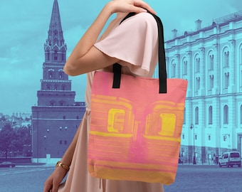 Moscow Metro Train Car Tote Shoulder Bag in Pink Gift for Russian Language Learners Travelers Russia Subway