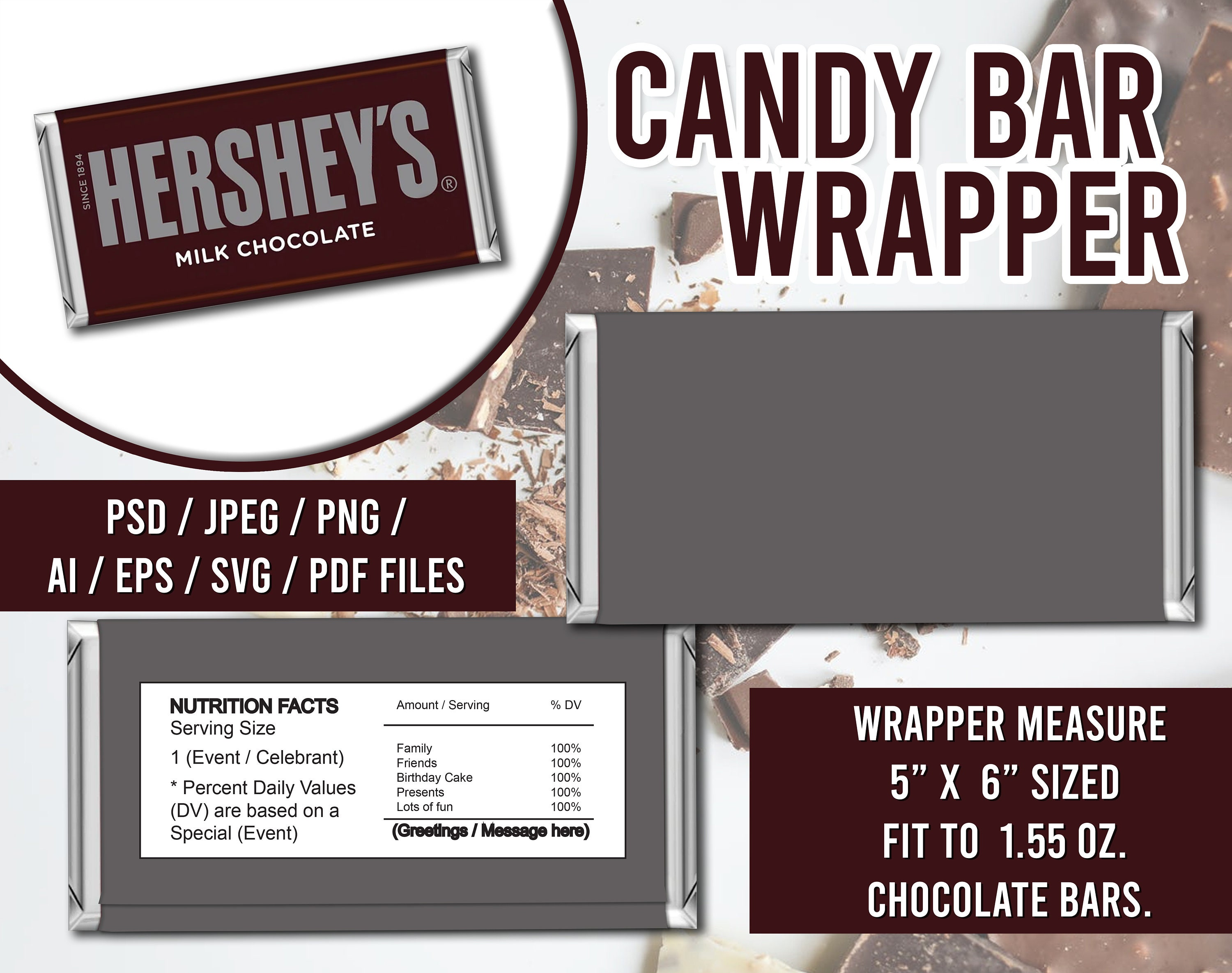 Candy Bar Wrapper Template, SVG, PSD, eps, ai, jpeg, png, pdf (OK for  Commercial Use) Inside Candy Bar Wrapper Template Microsoft Word