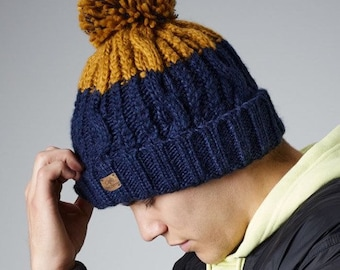 Hand-Knit Hat  Fisherman/'s Cap  Hand-Made Beanie  Mustard Hayloft Gold Yellow