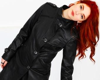 Long Leather Coat Leather Parka Jacket / Genuine Leather / Long Leather Jacket Overcoat Button Closure Women's Woman