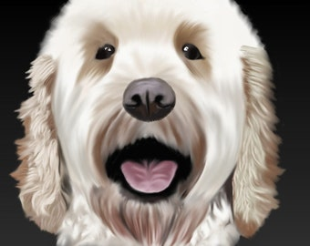 Any Pet Pet Portrait A4A3 print and Download Pet Painting- memorial Cat, Dog, Rabbit, Bird, Pet Snail Great Gift or Keepsake