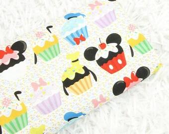 Cupcake Mickey Fabric Disney Anime Cartoon Fabric Cotton Fabric By The Half Yard