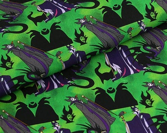 Green Maleficent Fabric Evil Characters Anime Cartoon Fabric Cotton Fabric By The Half Yard