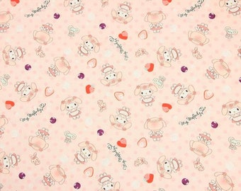 My Melody Fabric Pink Strawberry My Melo White Rabbit Anime Cartoon Fabric Cotton Fabric By The Half Yard