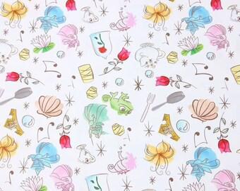 Princess Fabric Belle Fabric Beauty and the Beast Anime Cartoon Fabric Cotton Fabric By The Half Yard