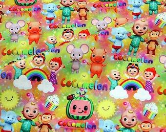 Cocomelon Fabric Sunshine Cocomelon Anime Cartoon Cotton Fabric By The Half Yard