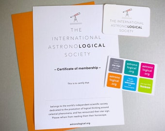 Scientific Membership Pack // Unique Birthday or Christmas Gift // Science Stickers // Card // Certificate // Astronomy Space Nerd