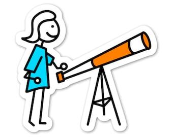 Astronomy Stickers // 5 Pack // Vinyl + Glitter // Laptop Phone Lunchbox Car // Weatherproof // Science Space Cartoon