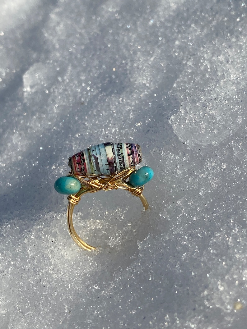 Paper Bead Agate wire Ring