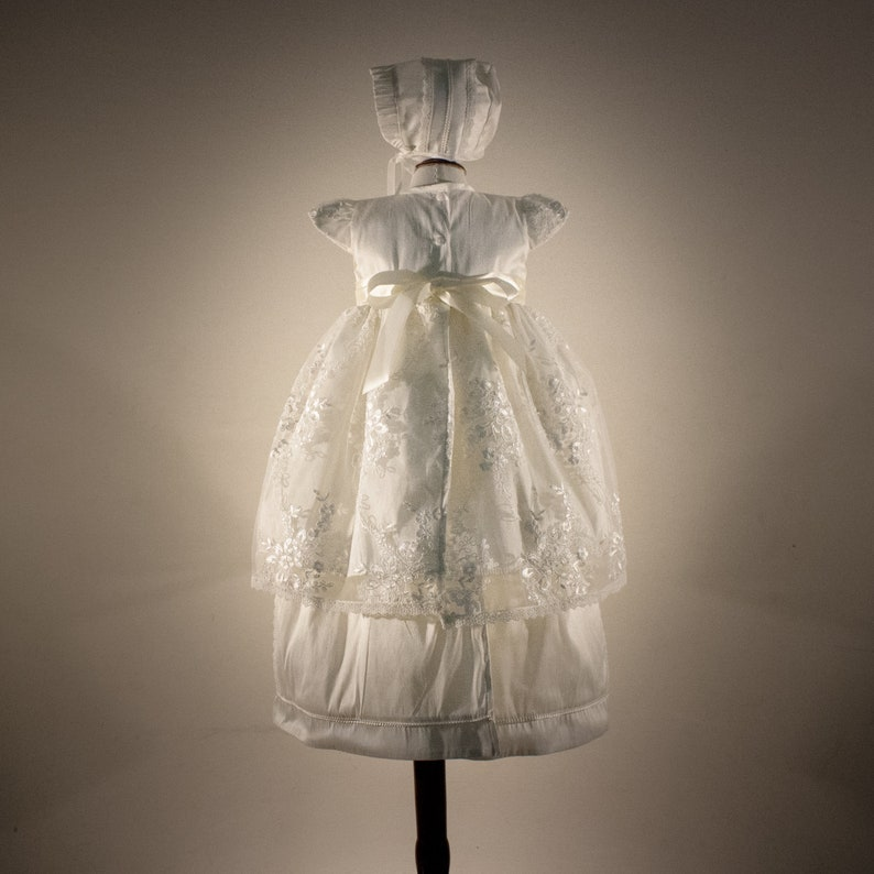 Baptizing ropon for girl fully lined Christening gown CRISTINA Handmade. Made in French Shangtun