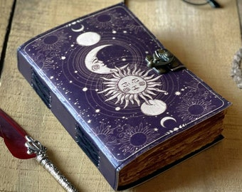 Sun &  moon journal • handmade deckle edge old paper, grimoire journal, book of shadows, leather sketchbook, great gift book 7x5 inch