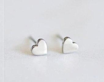 Brass Heart Studs,Conversation Heart Studs,Stainless Steel Stud Earrings,Gift for Girlfriend Tiny Heart Studs Love Heart Stud Earrings