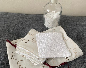 5 Reusable cotton face wipes and matching pouch.