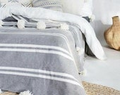 POM POM Blanket , Tassel Throw Blanket ,Moroccan Wedding Blanket.