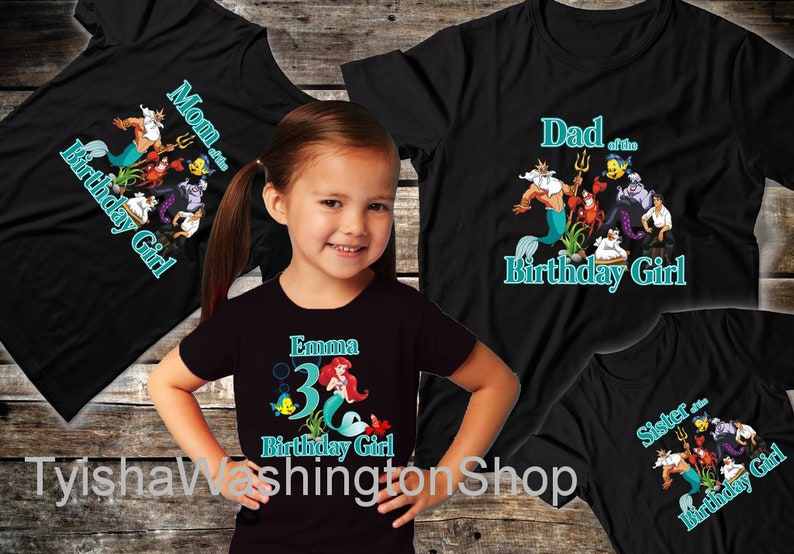 Little Mermaid Ariel Birthday Family Shirts Custom Matching Birthday Family Party Personalized Gifts T-Shirt