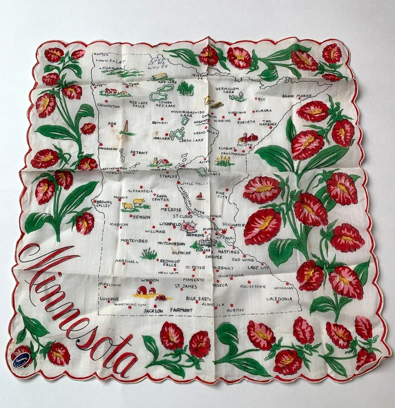 Original Sticker Mid-century Vintage Handkerchief Souvenir Minnesota with State Map and Red floral scalloped border