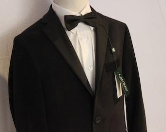 Vintage 1970s Boys Cream and Black Jacket with Velvet Collar