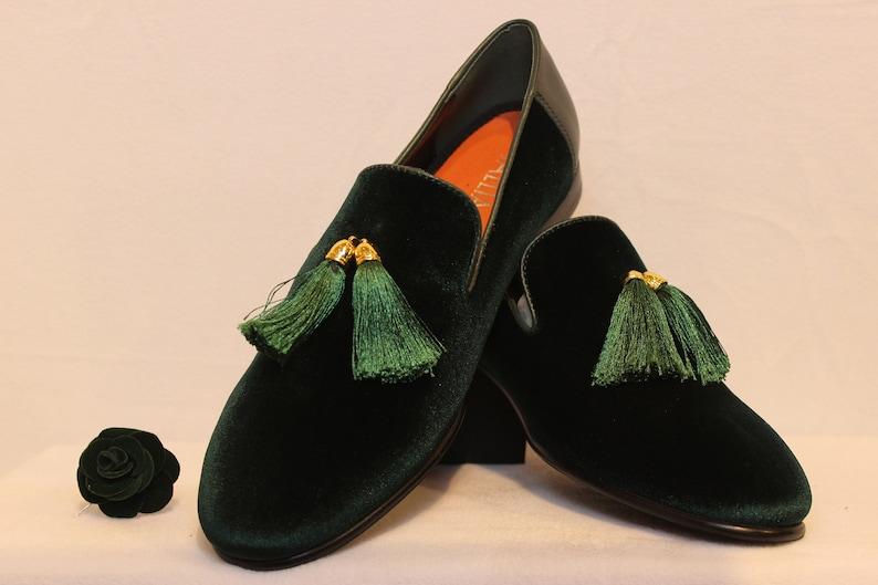 Men/'s Green Velvet Luxury Tassel Loafers