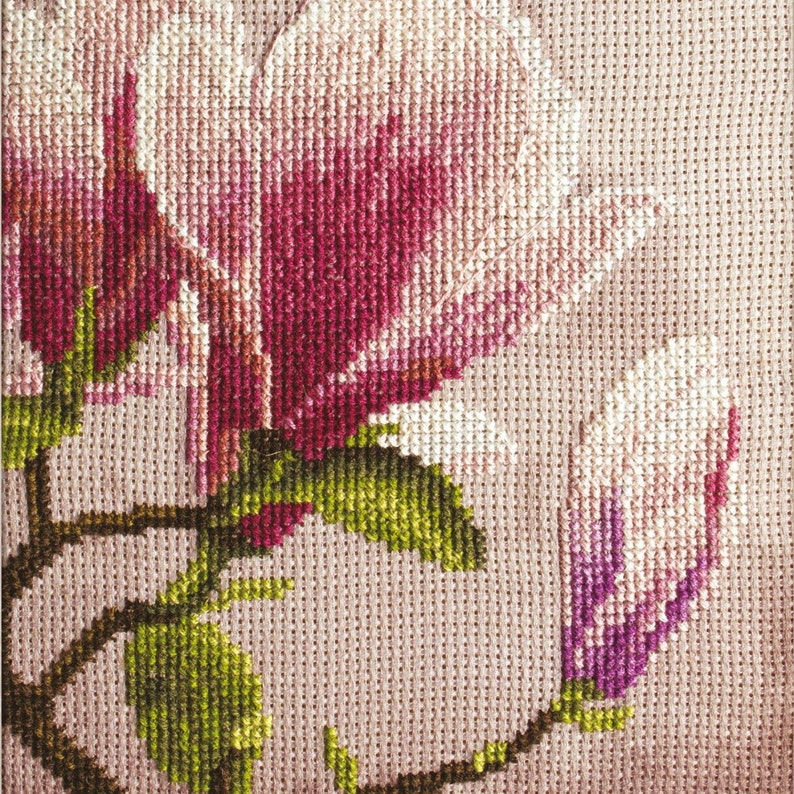 Cross Stitch Kit Floral Embrodery Kit Counted Cross Stitch Kit Hand Embroidery Design DIY Craft Kit Magnolia 68x40 cm