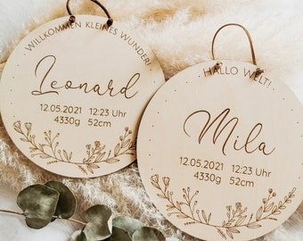 Name tag with birth dates made of wood, personalized gift for birth / baptism