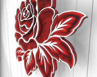 Rose flower 3D Mandala svg files, Multilayer Panel for Laser Cutting, SVG files, Laser Cut. Layered Mandala Cricut. Design 005