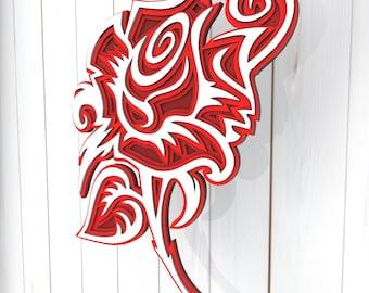 Rose flower 3D Mandala svg files, Multilayer Panel for Laser Cutting, SVG files, Laser Cut. Layered Mandala Cricut. Design 021