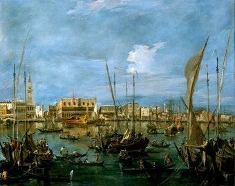 Antonio Joli Art Modern Postcard R001620 Procession of Gondolas Italy 1700s Bacino di San Marco Views of Venice