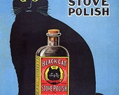 Black Cat Enamel Stove Polish Outshines 39 Em All Advertising Vintage Poster Repro